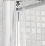 A photo of Lakes Bathrooms' curved corner slider shower door product detail