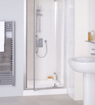 A photo of Lakes Bathrooms' semi frameless pivot door