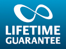"An image saying ""Lakes Bathrooms' Lifetime Guarantee"""