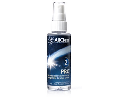 A product shot of Lakes Bathrooms' AllClear pro bottle