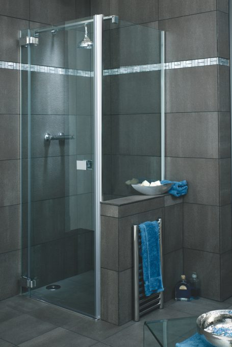Licata frameless hinged shower door