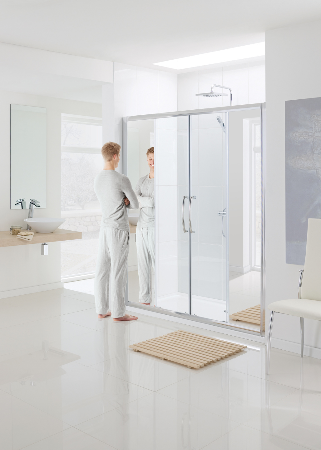 Mirror: Semi-Frameless Double Slider Door shower enclosure