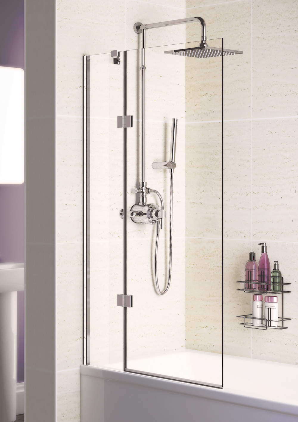 8mm Hinged Bath Screen - Bath Screens | Lakes Bathrooms