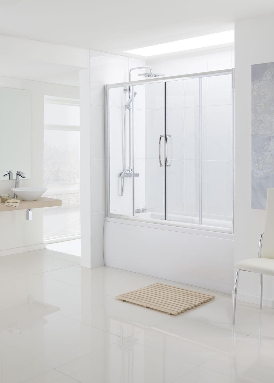 Over Bath Semi-Frameless Double Slider door bath screen