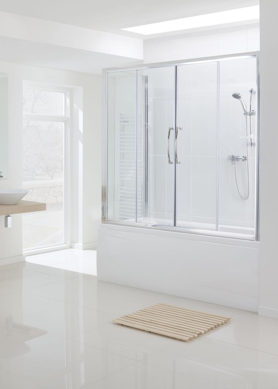 Over Bath Semi-Frameless Double Slide Door - Bath Screens