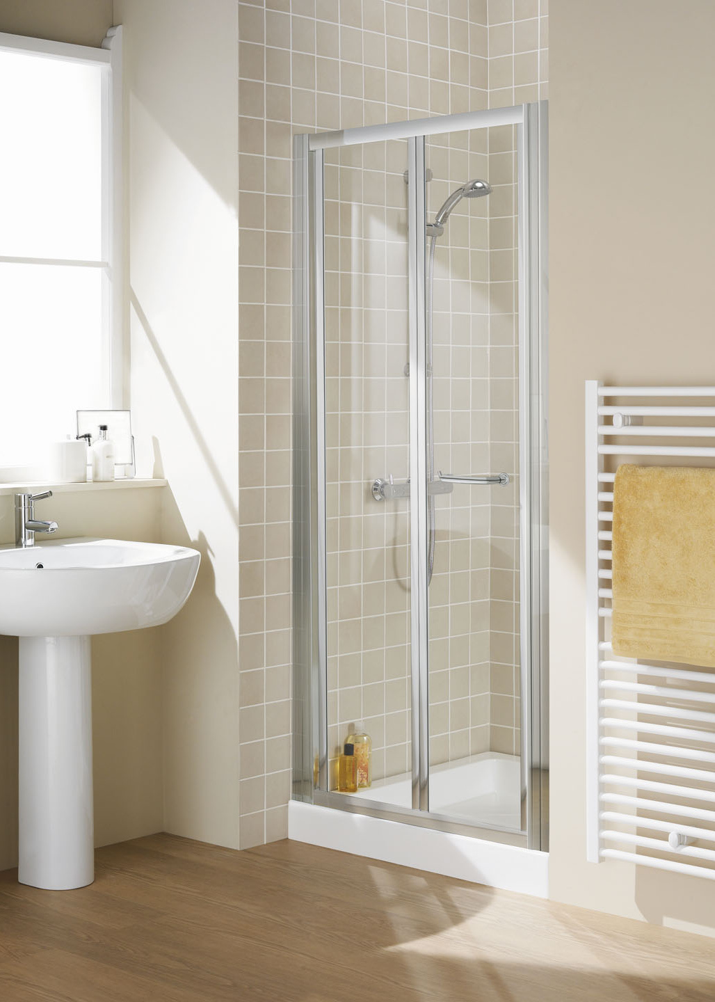 Semi-Frameless Bi-Fold Door - Shower Enclosures | Lakes Bathroom