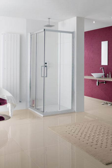 Semi-Frameless Malmo Offset Corner Entry Shower Enclosure