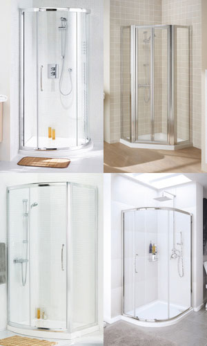 a collage showing traditional shower enclosures