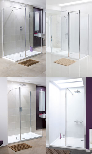 collage of walk-in shower enclosures