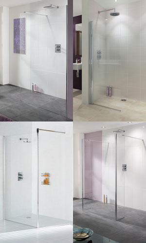a collage showing a selection of wet rooms