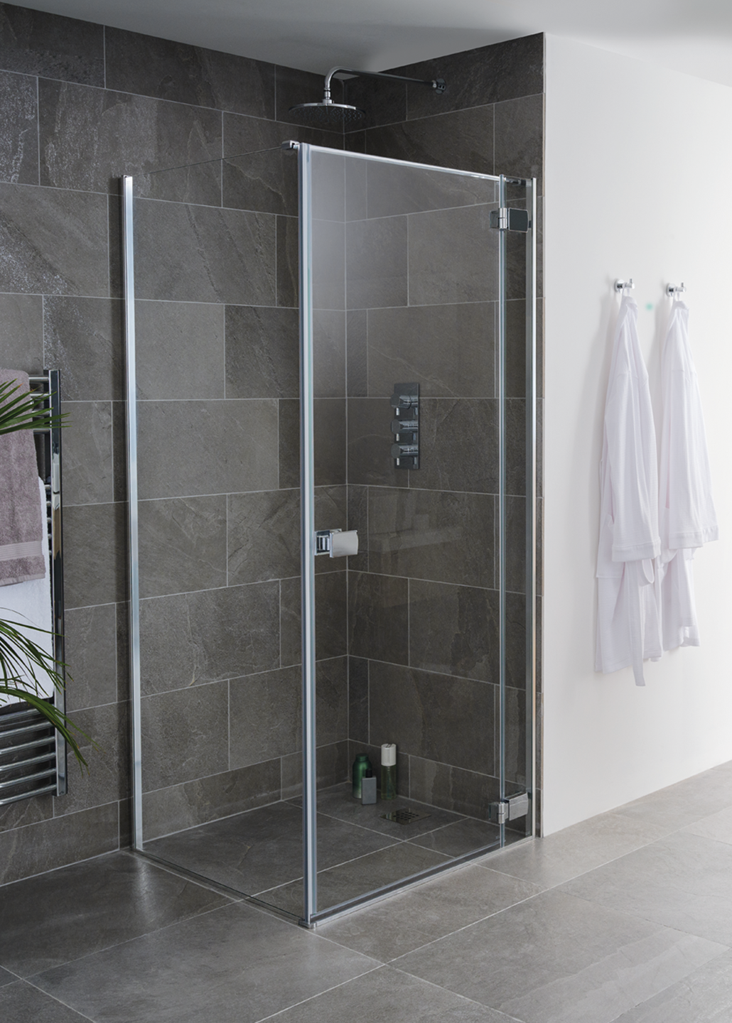 Grenada frameless shower enclosure door and side panel image