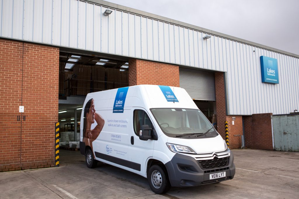 Lakes Bathrooms Delivery Van outside Warehouse