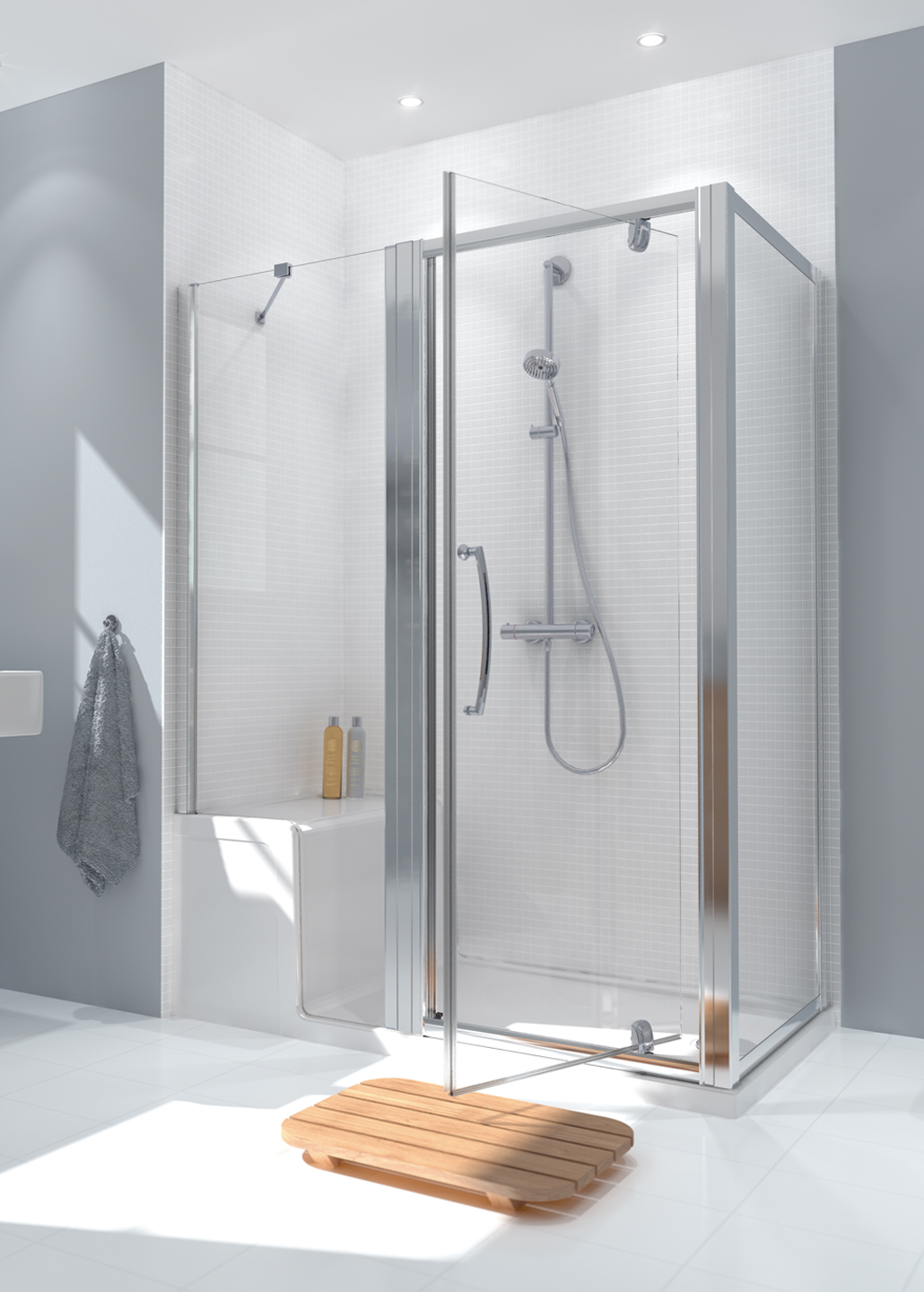 Seated Shower Tray & In Line Panel