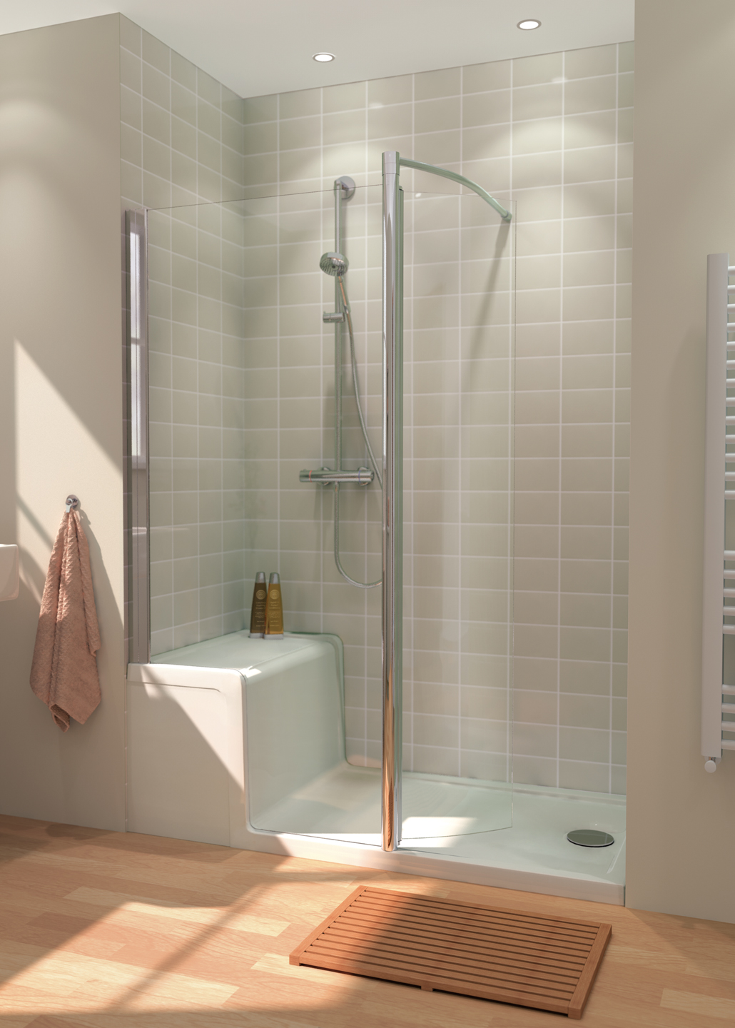 Seated Shower Tray and Walk-In Enclosure - Lakes Bathrooms
